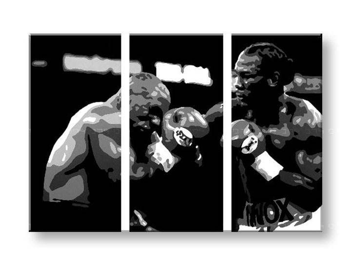 Картини за стена Pop Art Tyson vs. Lewis 3 части 120x80