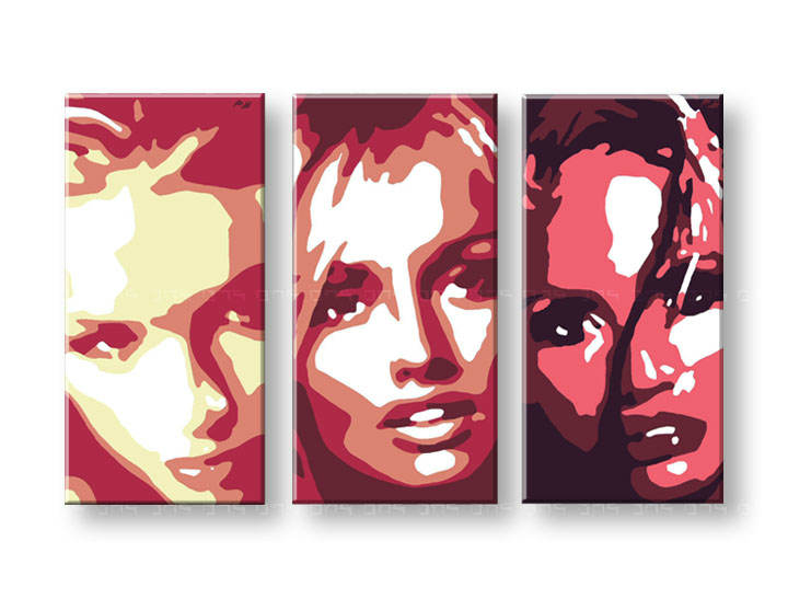 Картини за стена Pop Art Faces 3 части 120x80cm