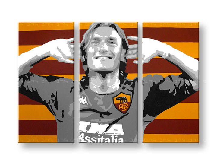 Картини за стена Pop Art Francesco Totti 3 части 120x80