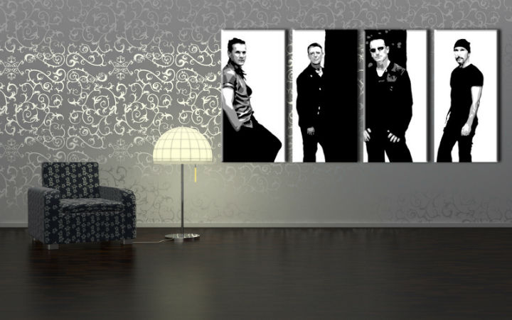 Картини за стена Pop Art U2 in Black 4 части 160x80cm