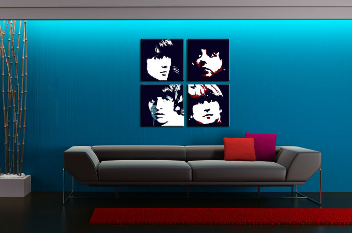 Картини за стена Pop Art BEATLES 4 части 100x100cm