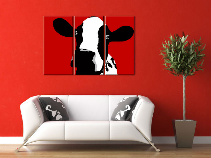 Картини за стена Pop Art Cow 3 части 120x80cm
