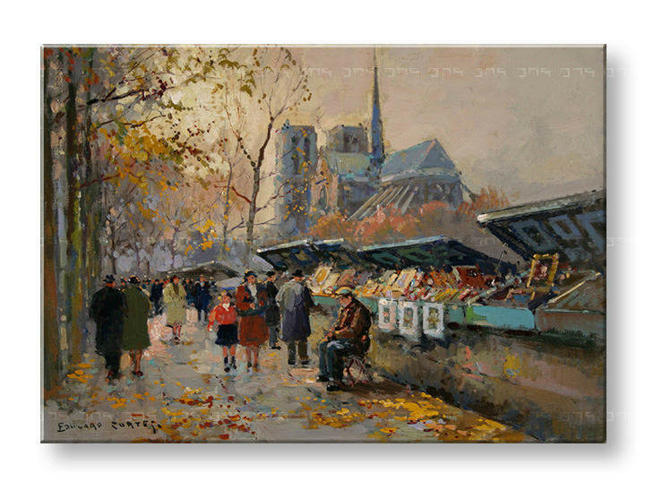 Картини на платно BOOK SELLERS ALONG THE SEINE - Edouard Leon Cortes