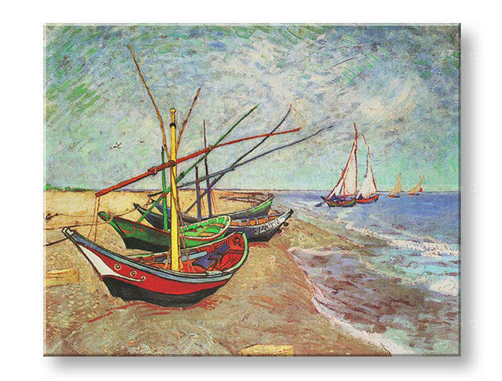 Картини на платно FISHING BOATS ON THE BEACH AT SAINTS-MARIES - Vincent van Gogh