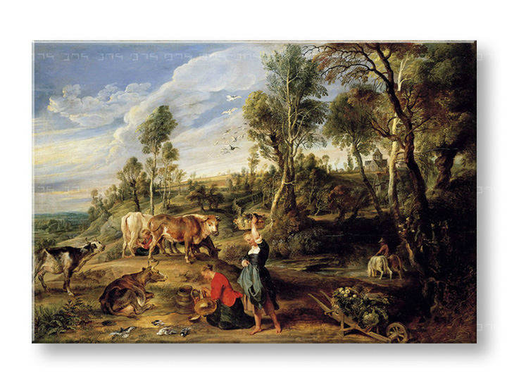 Картини на платно MILKMAIDS WITH CATTLE IN A LANDCAPE - Peter Paul Rubens